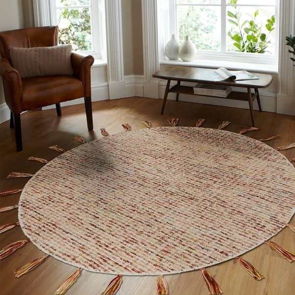 LR Home Hand Tufted Dazzle Criss-Crossed Autumn Red/ Multi Wool Rug - 6' x 6'