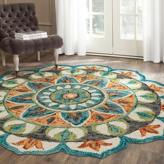 LR Home Hand Tufted Dazzle Garden Medallion Teal/ Green Wool Rug - 4' x 4'