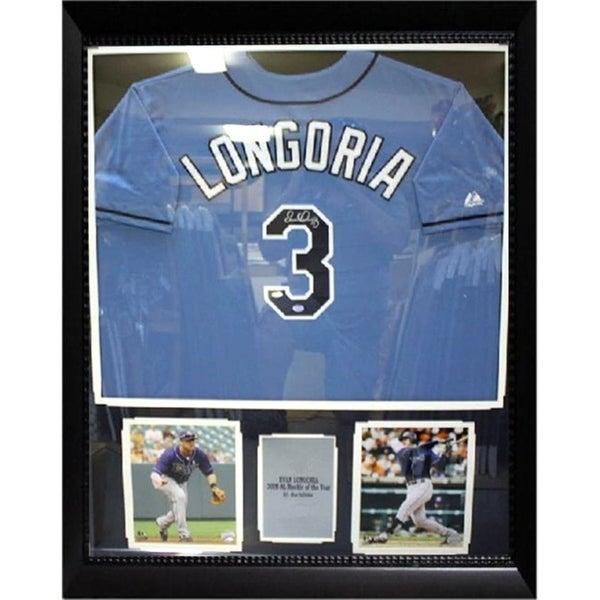 44x36 Framed Autographed Custom Jersey - Evan Longoria Tampa Bay Rays