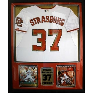 44x36 Framed Autographed Custom Jersey - Steven Strasburg Washington Nationals