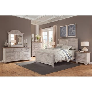 Attrayant Carlyle Crackled White 5 Piece Panel Bedroom Set By Greyson Living