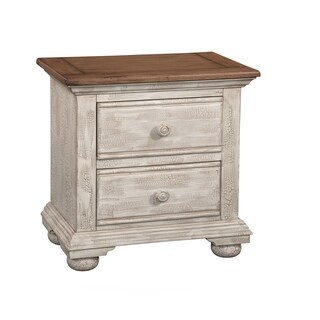 Carlyle Crackled White 2-Drawer Nightstand by Greyson Living
