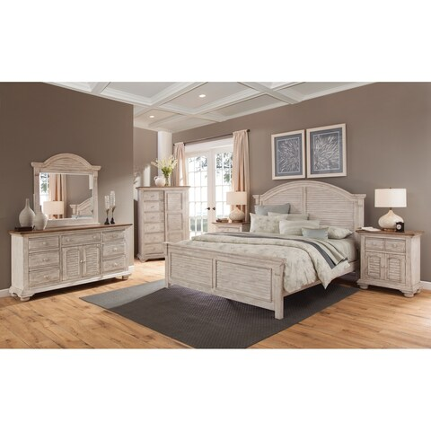 Carlyle Crackled White Arched Bedroom Set by Greyson Living