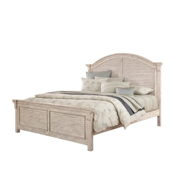 Shop Greyson Living Carlyle Crackled White Wood Panel Bed - On Sale ...