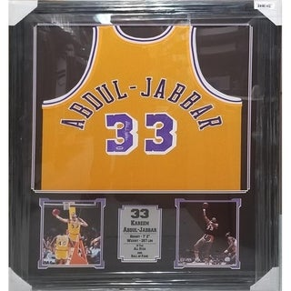 44x36 Framed Autographed Custom Jersey - Kareem Abdul Jabbar Los Angeles Lakers