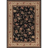 "Concord Global Ankara Botanical Black Rug - 6'7"" x 9'6"""