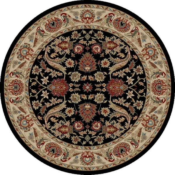 "Concord Global Ankara Royals Black Round Rug - 5'3"" x 5'3"""