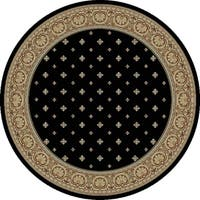 "Concord Global Ankara Dapper Black Round Rug - 5'3"" x 5'3"""