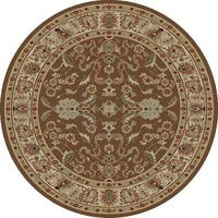 "Concord Global Ankara Mogul Brown Round Rug - 5'3"" x 5'3"""