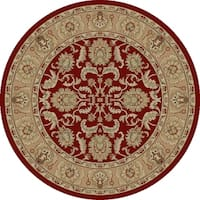 "Concord Global Ankara Motif Red Round Rug - 7'10"" x 7'10"""