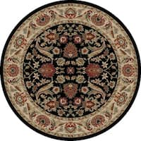 "Concord Global Ankara Royals Black Round Rug - 7'10"" x 7'10"""