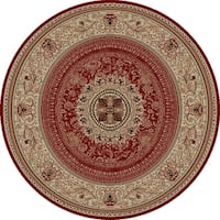 "Concord Global Ankara Manor Red Round Rug - 5'3"" x 5'3"""