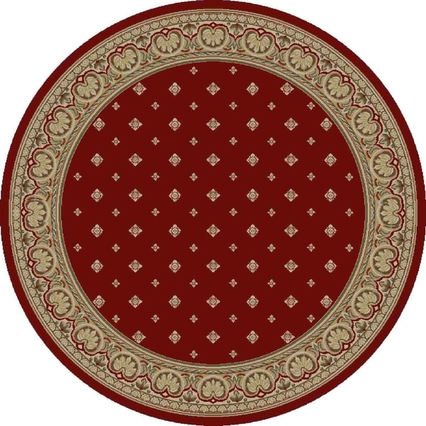 "Concord Global Ankara Dapper Red Round Rug - 5'3"" x 5'3"""