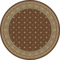 "Concord Global Ankara Dapper Brown Round Rug - 5'3"" x 5'3"""