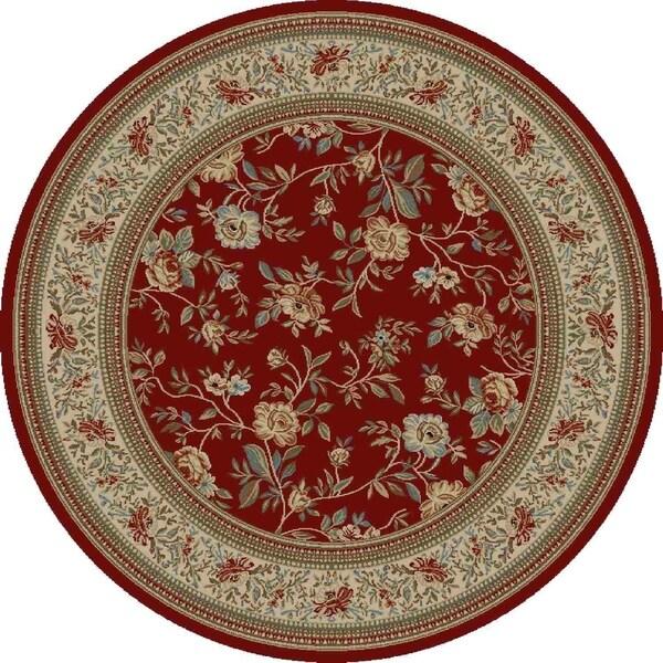 """Concord Global Ankara Botanical Red Rug - 7'10"""" x 7'10"""""""