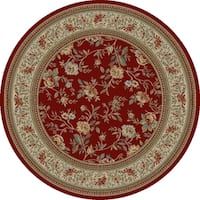 "Concord Global Ankara Botanical Red Round Rug - 7'10"" x 7'10"""