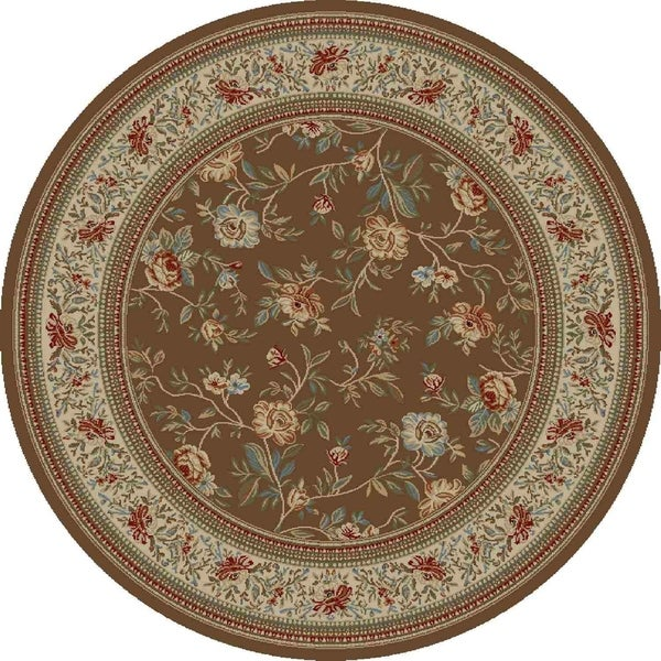 "Concord Global Ankara Botanical Brown Round Rug - 5'3"" x 5'3"""