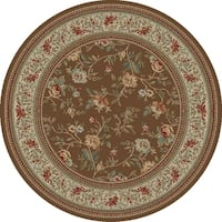 "Concord Global Ankara Botanical Brown Round Rug - 7'10"" x 7'10"""