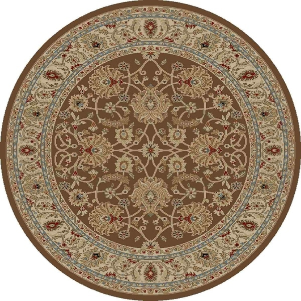 "Concord Global Ankara Palace Brown Round Rug - 7'10"" x 7'10"""