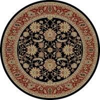 "Concord Global Ankara Palace Black Round Rug - 7'10"" x 7'10"""