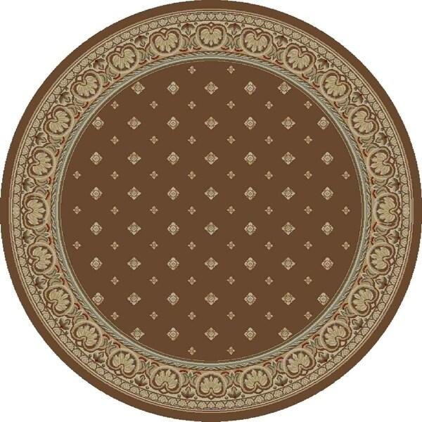 """Concord Global Ankara Dapper Brown Round Rug - 7'10"""" x 7'10"""""""