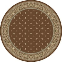 "Concord Global Ankara Dapper Brown Round Rug - 7'10"" x 7'10"""
