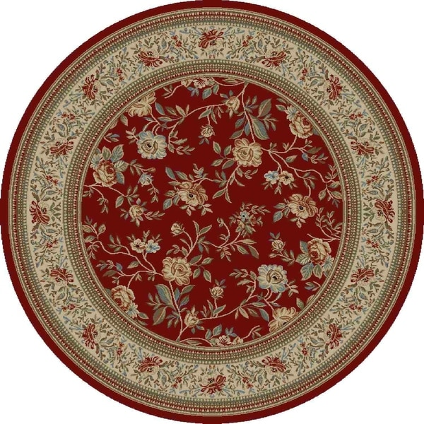 "Concord Global Ankara Botanical Red Rug - 5'3"" x 5'3"""