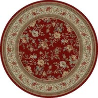 "Concord Global Ankara Botanical Red Round Rug - 5'3"" x 5'3"""