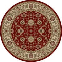 "Concord Global Ankara Chobi Red Round Rug - 7'10"" x 7'10"""