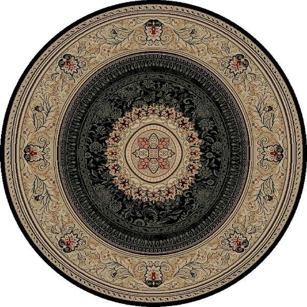 "Concord Global Ankara Manor Black Round Rug - 5'3"" x 5'3"""