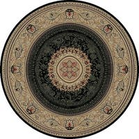 "Concord Global Ankara Manor Black Round Rug - 5'3"" x 5'3"""