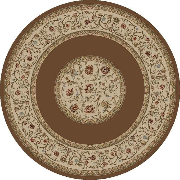 "Concord Global Ankara Serene Brown Round Rug - 7'10"" x 7'10"""