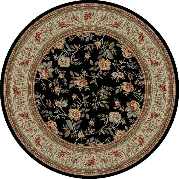 "Concord Global Ankara Botanical Black Round Rug - 7'10"" x 7'10"""