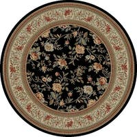 "Concord Global Ankara Botanical Black Round Rug - 7'10"" x 7'10"""