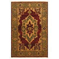 Handmade Herat Oriental Indo Hand-knotted Tabriz Wool Rug - 4' x 6' (India)