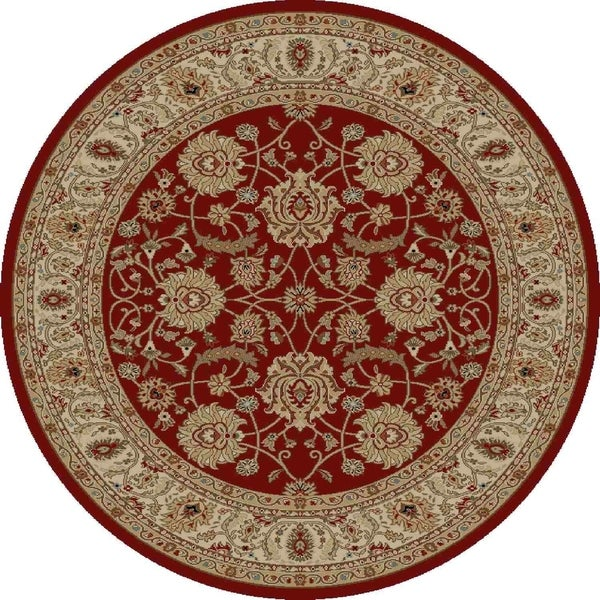 "Concord Global Ankara Palace Red Round Rug - 7'10"" x 7'10"""
