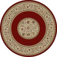 "Concord Global Ankara Serene Red Round Rug - 5'3"" x 5'3"""