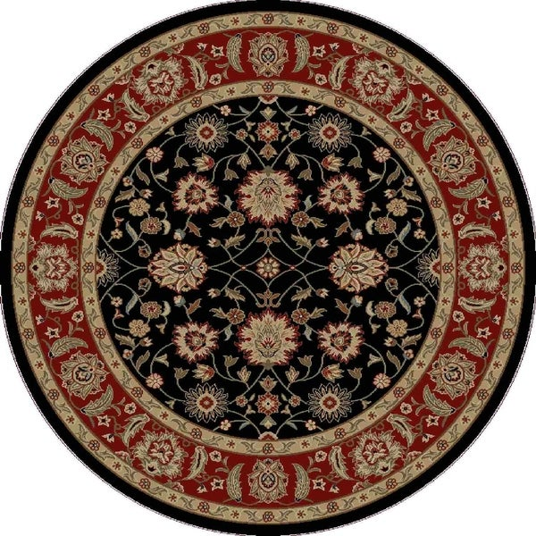 "Concord Global Ankara Chobi Black Round Rug - 7'10"" x 7'10"""