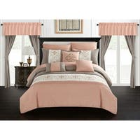 Chic Home Herta 20 Piece Bed in a Bag Color Block Floral Embroidered Comforter Set