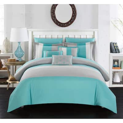 Chic Home Hester Turquoise Color Block 10-piece Bed in a Bag Set