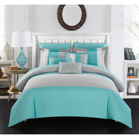 Chic Home Hester 10 Piece Bed in a Bag Comforter Set Color Block, Turquoise