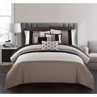 Chic Home Hester 10 Piece Bed in a Bag Comforter Set Color Block, Beige