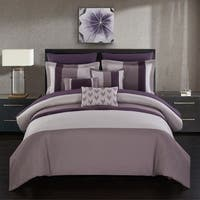 Chic Home Hester 10 Piece Bed in a Bag Comforter Set Color Block, Plum