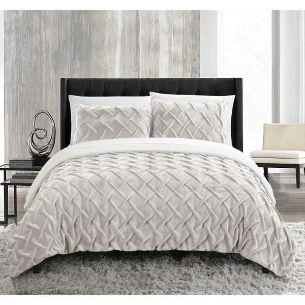 Chic Home Noam 7 Piece Bed in a Bag Pinch Pleated Comforter Set - Beige