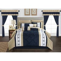 Chic Home Kaia 20 Piece Bed in a Bag Pinch Pleat Pintuck Design Comforter Set - navy