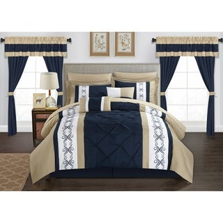 Chic Home Kaia 20 Piece Bed in a Bag Comforter Set Color Block Pinch Pleat Pintuck Design, Navy (2 options available)