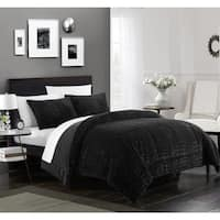 Chic Home Caimani 7 Piece Bed in a Bag Comforter Set Faux Fur, Black