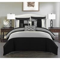 Chic Home Hester 10 Piece Bed in a Bag Comforter Set Color Block, Black