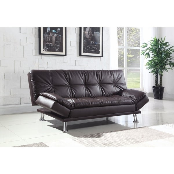 Shop Contemporary Calming Sofa Bed With Chrome Legs, Brown