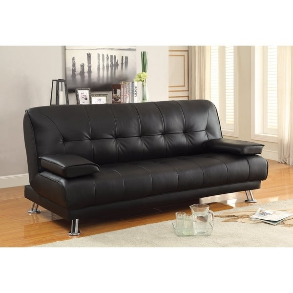 Shop Faux Leather Convertible Sofa Bed with Removable Armrests ...